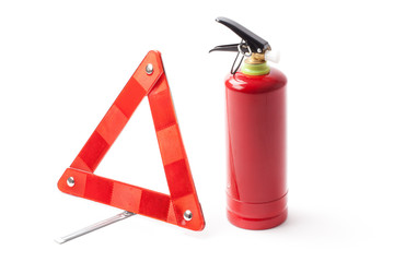 Emergency Road Triangle And Fire Extinguisher