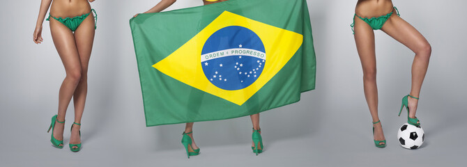 Low section of sexy woman legs in colours Brazil