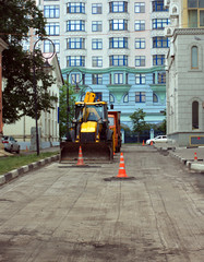 Road construction in a city
