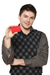 Smiling confident man with folded hands