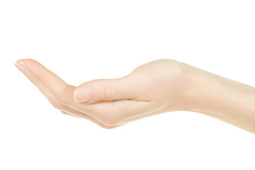 Woman hand open, palm up isolated on white, clipping path