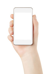 Smart phone in hand with blank screen on white, clipping path