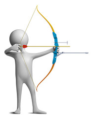Funny character as an archer holds sporting bow on a white backg