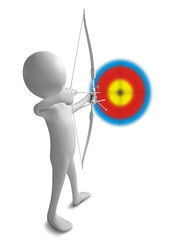 Funny character as an archer holds a sporting bow on a white bac