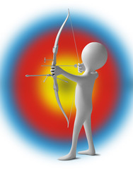 Funny character as an archer holds a sporting bow on a target ba