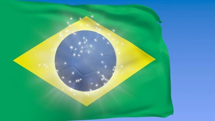 Brazil flag with shining blue soccer ball