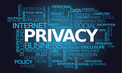 Privacy policy personal data security words tag cloud