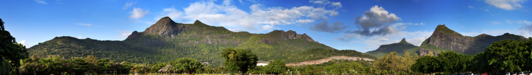 Nature of Mauritius. Wood and mountains, panorama