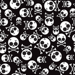 Seamless pattern with skulls and bones black background