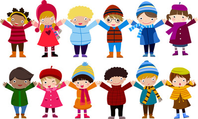 Group of children and winter