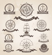 Vintage nautical label icon set. Retro vector design elements.