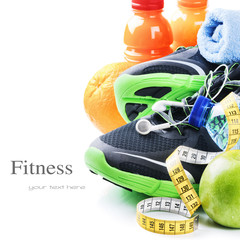 Fitness concept with sport shoes and healthy nutrition