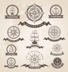 Vintage nautical label icon set. Retro vector design elements.