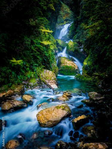 Mackay Falls in Milford track, New Zealand - 65752177