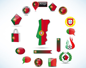 Set of portugal icons and flag
