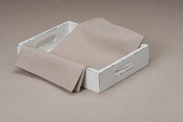 Tray With Natural Linen Napkin And Table Cloth