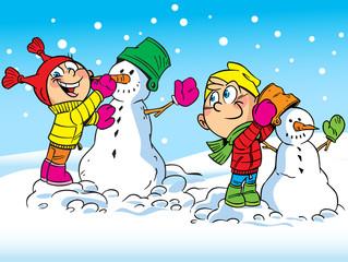 children make snowmen