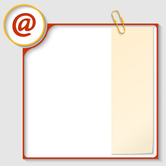 red frame for text with a email icon and notepaper