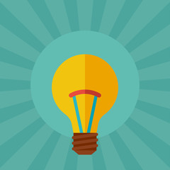 Light bulb idea concept illustration in flat style.