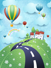 Fantasy landscape with road and hot air balloons
