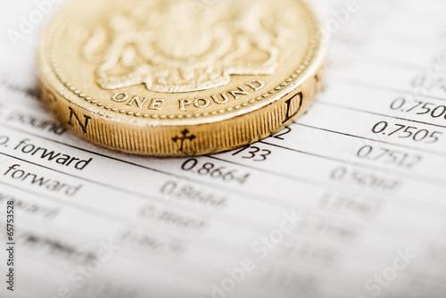 One pound coin on a summary table (shallow DOF)