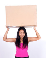woman holding a postal package