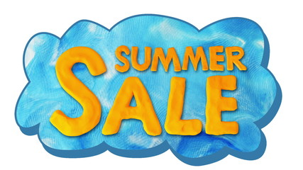 Sale and summer text on cloud, alpha matte, stop motion.