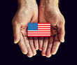 american flag in hands