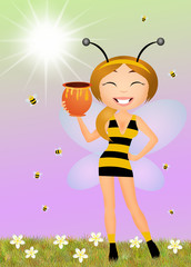 girl dress with bee