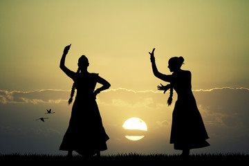 Indian dance at sunset