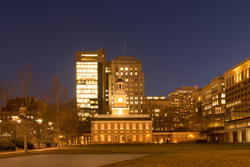 Historic Independence Square in Philadelphia at night