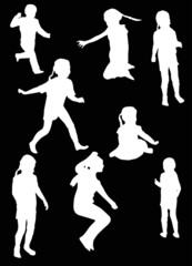 eight child silhouettes collection isolated on black