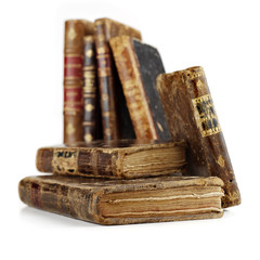 antique books on white