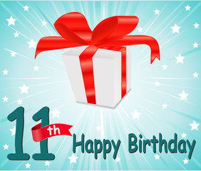 11 year Happy Birthday Card with gift
