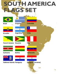 South America's vector flags set