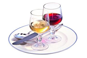 Rotweinglas Weißweinglas