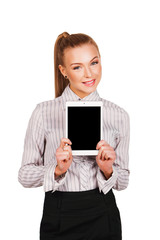 woman showing tablet computer screen smiling. isolated on white