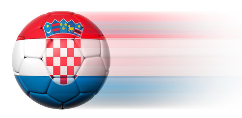 Soccer ball with Croatian flag in motion isolated
