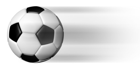 Soccer ball  in motion isolated on white