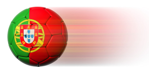 Soccer ball with Portuguese flag in motion isolated