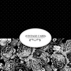 Monochrome Vintage Floral Card with Roses