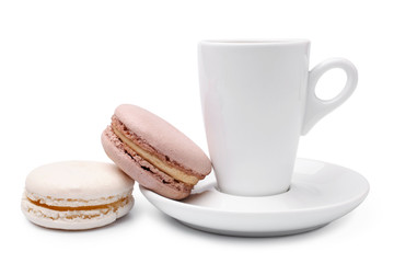 Cup of coffee  with colorful french macaroons