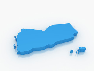3D render map of Yemen