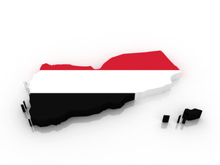 3D map of Yemen filled with flag of the state