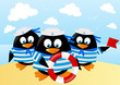 Cute penguins on sea background