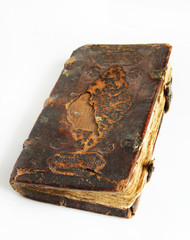 Ancient worn book with leather cover