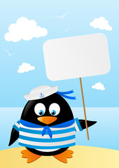 Cute penguin sailor with paper card