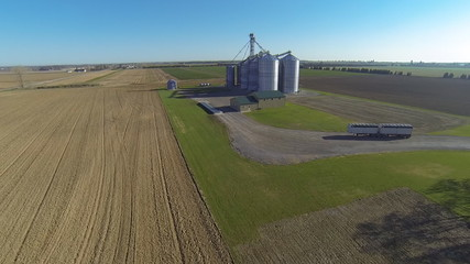 An aerial view of a grain elevator