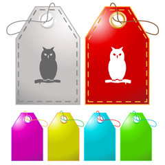 Owl. Vector tags.