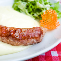 Grilled sausage served